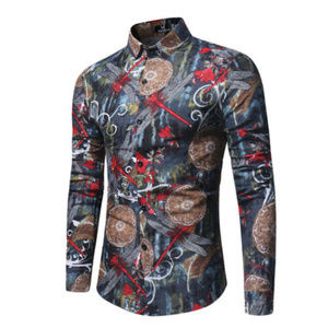 Other - Men's Flower Dragonfly Printed Shirts Long Sleeve
